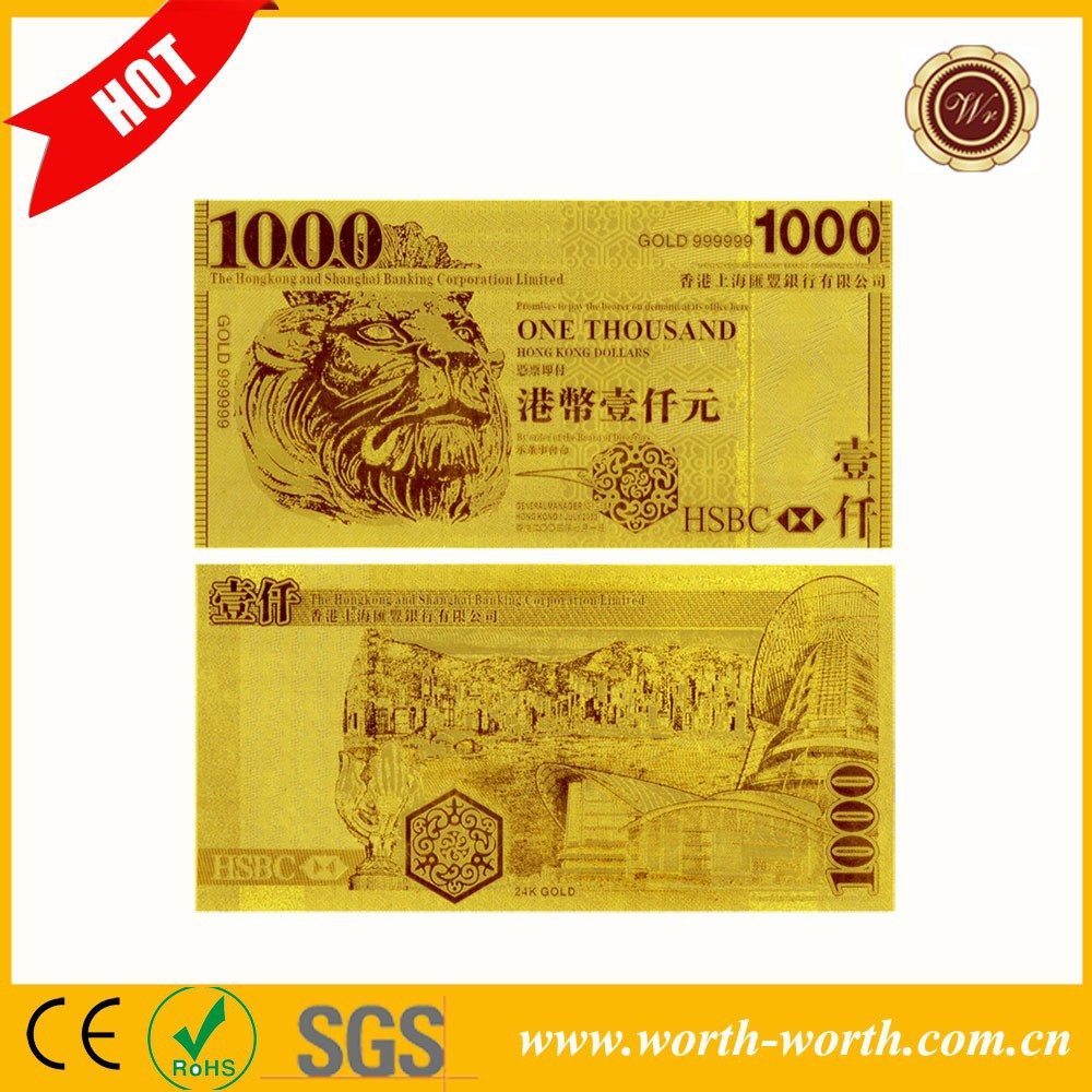 <strong>Art</strong> and Collectibles 24K Gold Banknotes 24k Gold 1000 HKD Banknote Best For Souvenir Gift