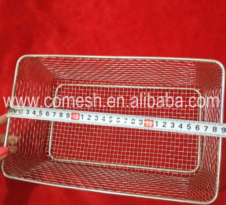 Anti-corrosion 29*18*8cm Stainless Steel Wire Mesh Knitted Basket