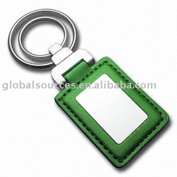 Rectangular Leather Key Chain with double rings