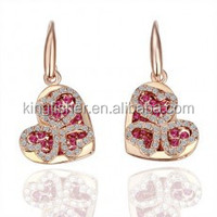 Gold plating rose and clear crystal pave heart earrings for girls
