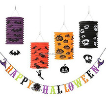 Paper Lanterns Hanging Happy Halloween Witch Spider Paper Banner Halloween Party Decorations