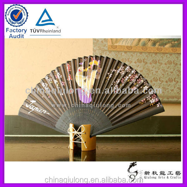 Japanese style black birthday souvenir bamboo hand fan wholsale