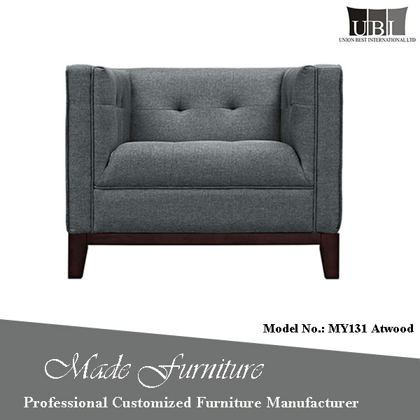 Contemporary Classic Design Middle Room Furniture Straight Line Square Arm Sofa