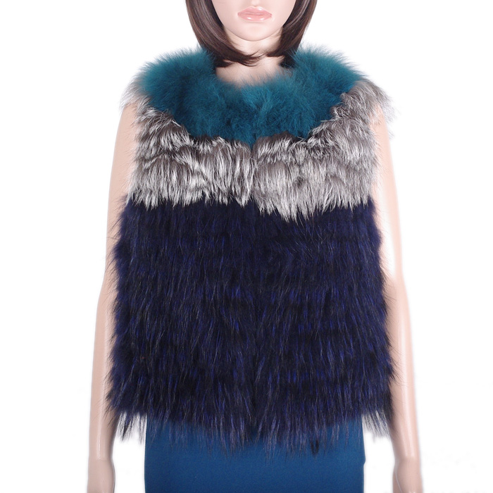 Women raccoon fur vest/silver fox fur vest striped fur vest KZ150151