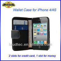 In Stock Leather Wallet Case for iPhone 4S 4, 2 Slots for Card, 1 Slot for Money Flip Case Cover Laudtec