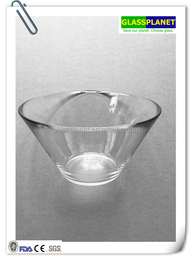 "7"" Round Conical Glass Salad Bowl"