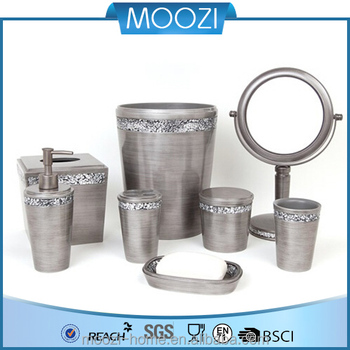 Home Luxury Gorgeous Silver Crackle Glass Pewter Polyresin Bathroom Accessori