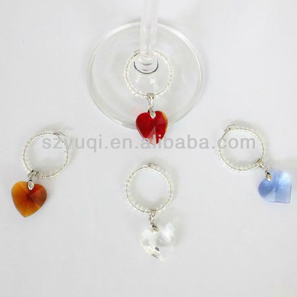 Cheap Heart Wine Glass Charms Wedding Party Favour