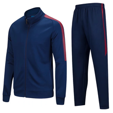 2018 new design OEM navy healthy material soccer jacket and pants set