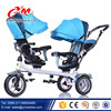three wheels triciclo kids baby tricycle with push bar/kids double seat tricycle/baby stroller tricycle two seat