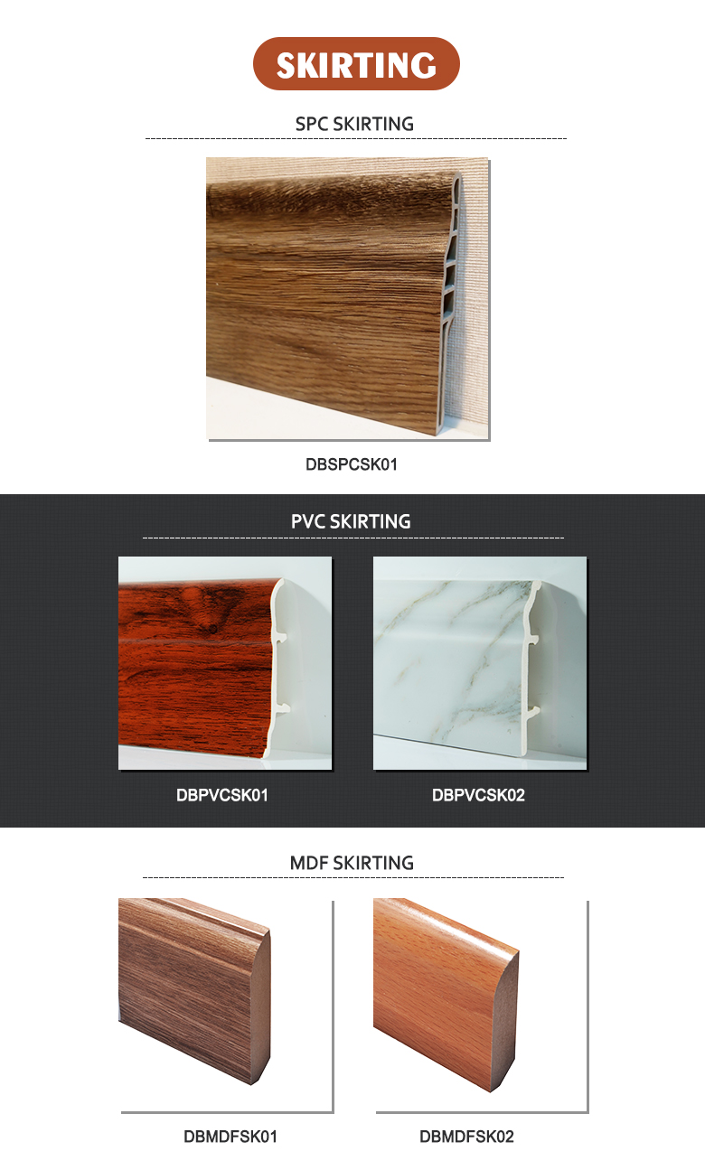 waterproof baseboard hot pressing laminated MDF board skirting board baseboard