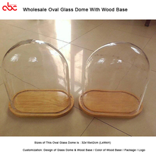 Wholesale Oval Glass Dome With Wood Base For Display Preserved Rose