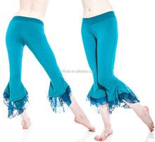 women Womens Yoga Tribal Belly Dance Lacey Ruffle Capri Pant dance pants Stretchy Organic Cotton Bamboo Teal Blue
