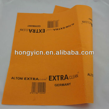 80%viscose, 20%polyester 50x70cm logo printed germany nonwoven orange super absorbent cleaning cloth