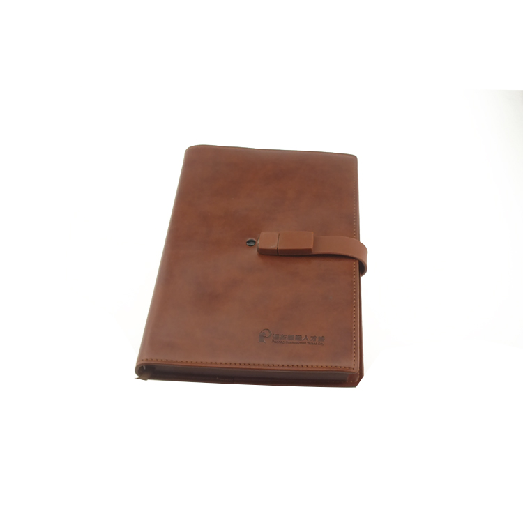 High quality Soft Leather Notebook with U disk/Notebook with Leather Notebook Cover