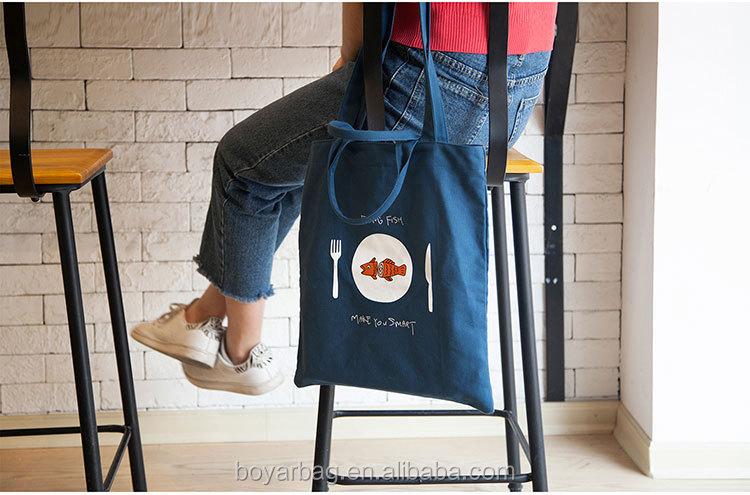 Factory cotton quality fish printed handbag canvas wholesale tote bags