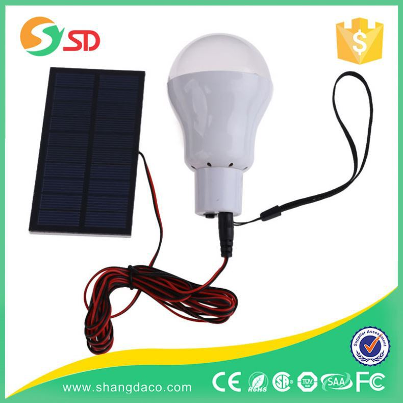 2016 1.2w SMD2835 cool white SMD rechargeable portable home solar bulb with Solar panel+battery+USB phone charger