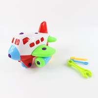 Hot selling plastic plane diy educational kids assembling toys