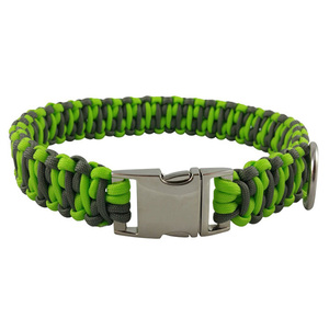 Fluorescent Green and Dark Grey Nylon Paracord Dog Collar Leash