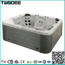 Luxury balboa system acrylic spa outdoor rectangle 6 persons hydromassage hot tub with 1 lounger
