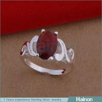 Fashion Handicrafted Italian Design Nickel Lead Free women with red crystal ring