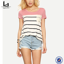 Wholesale Women T shirt In China Blank T-Shirt Custom Multicolor Short Sleeve Stripe Pocket T-shirt