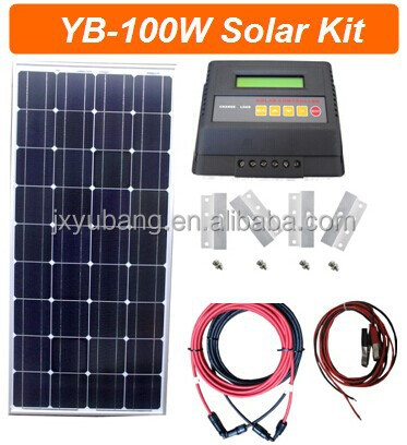DIY 150W Solar panel pv panel with controller cables connectors for DC freezer refrigerator fridge use