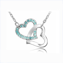 Trendy Sparkly Crystal Jewelries Double open linked Heart Chain Pendant Necklace For Women