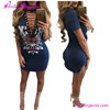 Summer Night Club Party Wear Printed Tie Up V-Neck Sexy Dresses Vintage Bodycon Bandage Dress