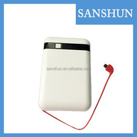 OEM/ODM New Arrivals White Portable rohs Power Bank with USB charging cable
