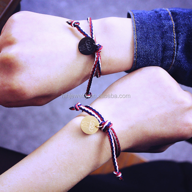 fashion stainless steel tag woven string rope boy and girl friendship bracelets