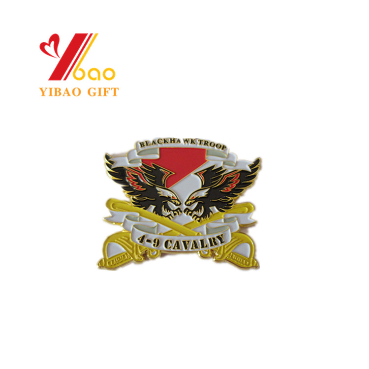 Custom design logo soft enamel gold coins metal with eagle