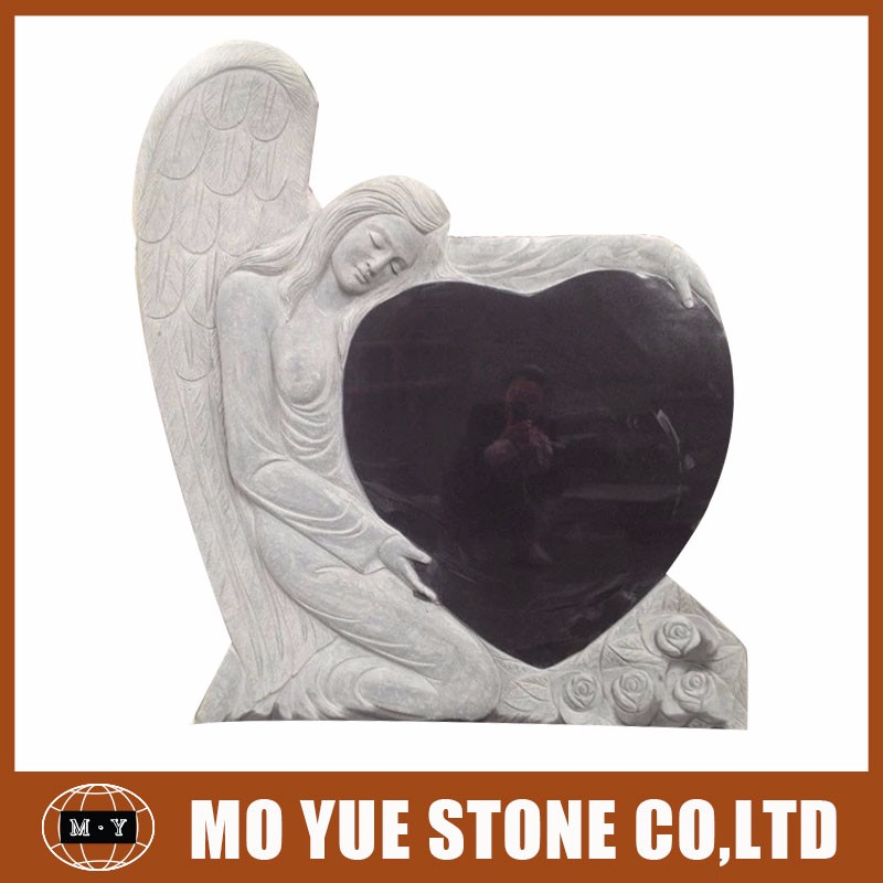 China suppliers granite double hearts grave headstones