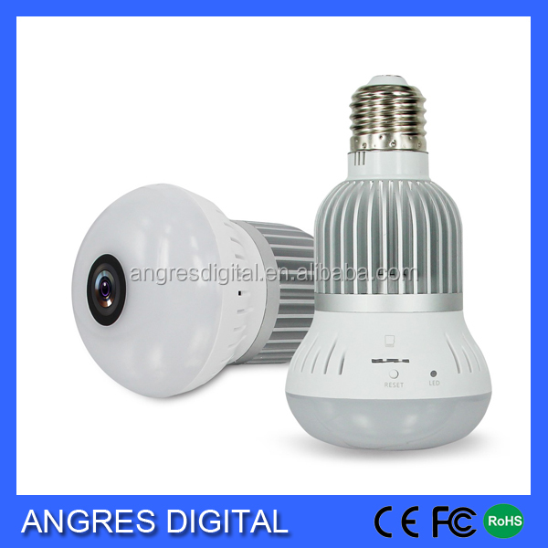 Home Security WiFi smart LED bulb Hidden IP Camera Fisheye lens 360 degree supports TF card Smart phone viewing