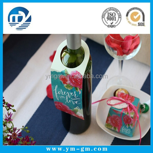 Custom printed wine bottle neck hang tag for promotion