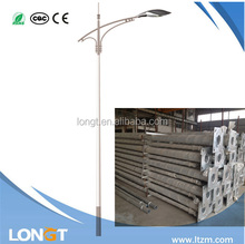 11m galvanized street lighting pole & lamp post with single arm for highway