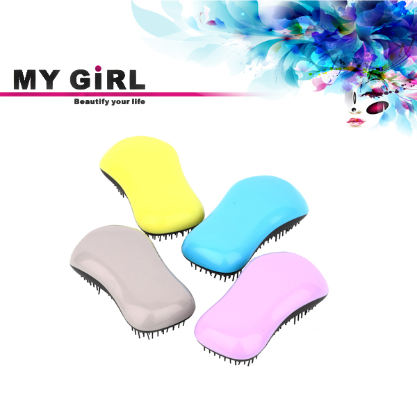 High Quality Color Vary Tangle Brush Plastic Hair Brushes Dtangler Brush