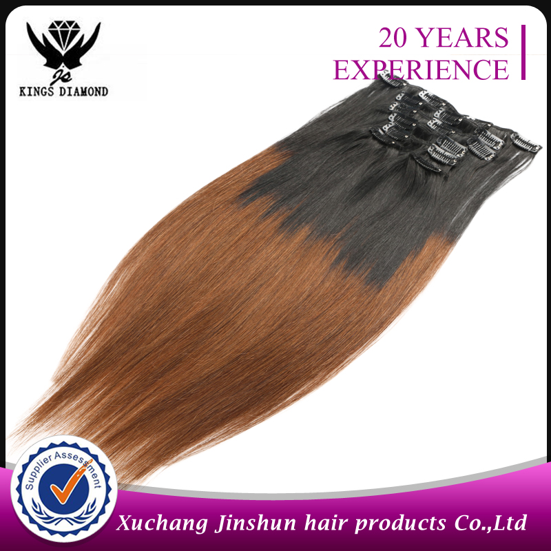 No trace of fashion Clip human hair silk straight hair 2 tone 1B/30 affordable fair