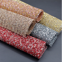 New design 24*40cm hot fix sticky back crystal sheet resin rhinestone mesh trimming wholesale