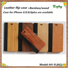 China factory wholesale smartphone real bamboo wood&leather high quality slim flip case/cover for phone