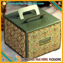 Eco-friendly printed die-cutting handle artpaper cake boxes,packaging cake box