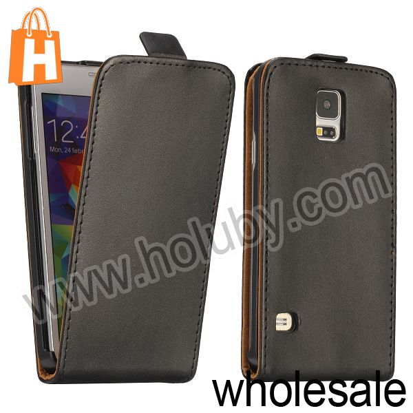 2015 High Quality Vertical Flip Cover Leather Case for Galaxy S5 Samsung I9600