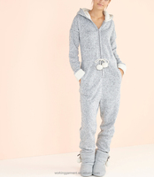 Factory Cheap Warm Grey Design Footless Brushed Fleece Rabbit Adult Women Girls Thermal Winter Hooded Lounge Onesie Jumpsuit