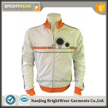 100%polyester/spandex Stand Collar sports coat with zipper closure