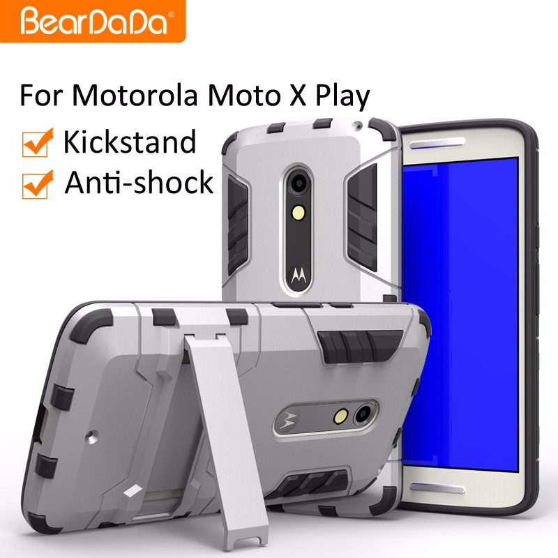 Hybrid 2 in 1 kickstand back cover for <strong>motorola</strong> moto x play mobile covers