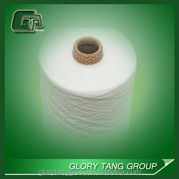 100% recycle raw white polyester yarn for weaving