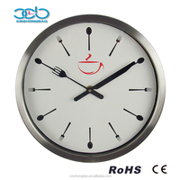 12' Stainless metal knife and fork kitchen wall clock