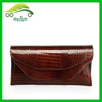 Fashion modern lady fold wallets,double compartment flap envelope clutch purse
