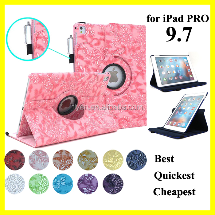 360 Degree Rotating Stand Case with Smart Cover Auto Sleep / Wake Feature for Apple <strong>iPad</strong> Pro 9.7