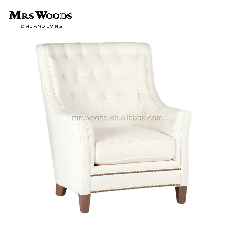 French Style Single Upholstory Sofa Chair Vintage Wooden Sofa Armchair